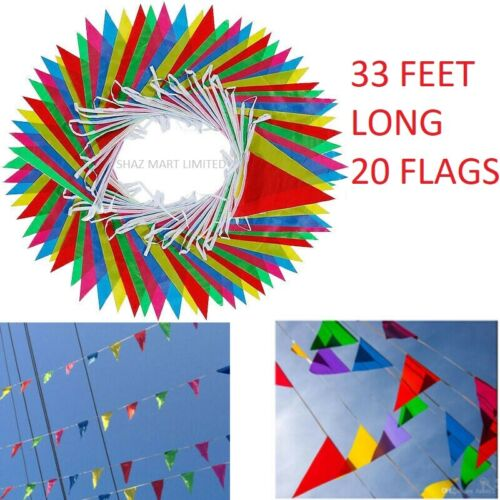 33+Feet+20+Flags+Multi+Colour+Banner+Bunting+Party+Home+Garden+Decoration+Diy+UK