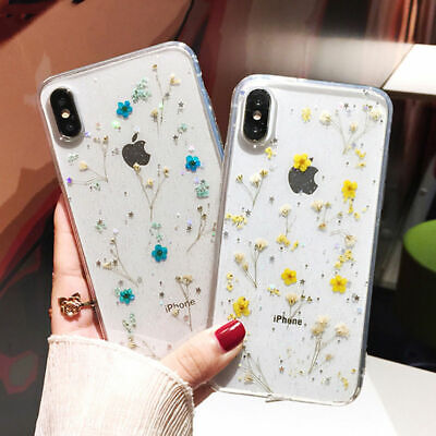 Handmade Real Dried Pressed Flowers Phone Case For iPhone X XS MAX XR 8 7 - Flowers Phone