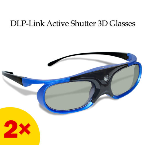 2x Active Shutter 3D Glasses for Optoma/BenQ/Acer DLP 3D Projector Vivid Movie