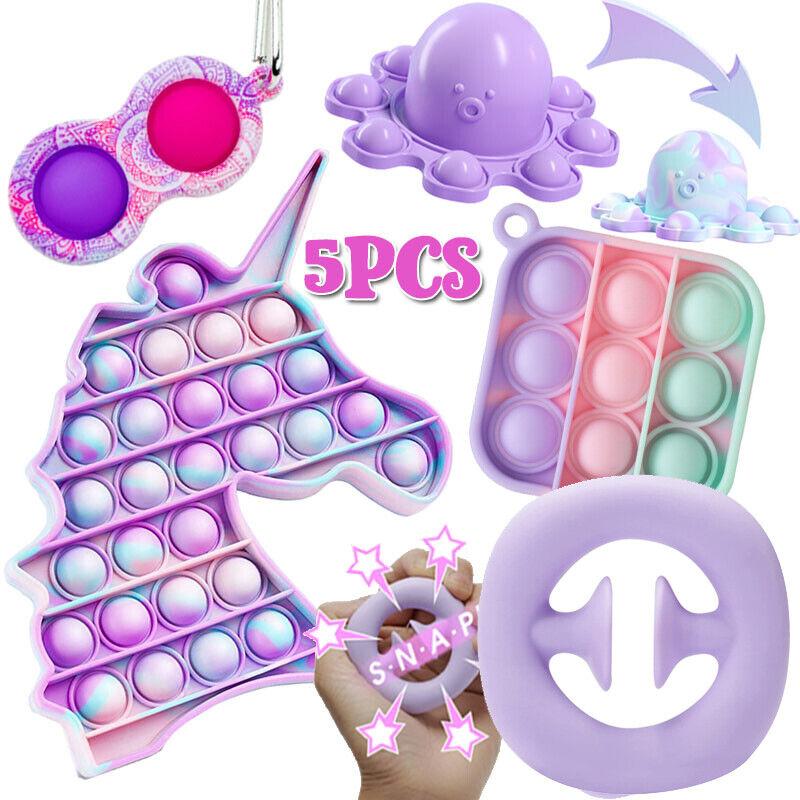 5Pack Sensory Fidget Toys Set Popit Stress Relief Anti-Anxiety Tools Bundle Hand