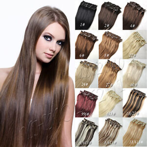 Real Human Hair Red Extensions 64