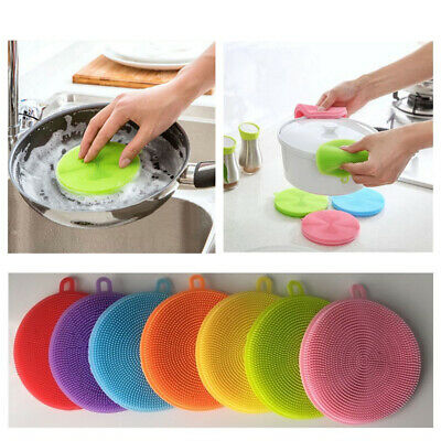 Multifunction Silicone Dish Bowl Cleaning Brushes Soap Dispenser Kitchen Set US