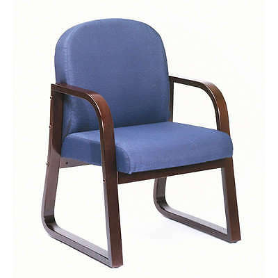 Mahogany Frame Side Guest Office Chairs With Blue Upholstery