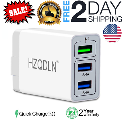 Fast Wall Charger 3 Ports Tablet iPad Phone Charger Adapter