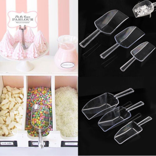 3PCS Plastic Clear Ice Sugar Scoops Wedding Buffet Bar Home Flour Scoop Set