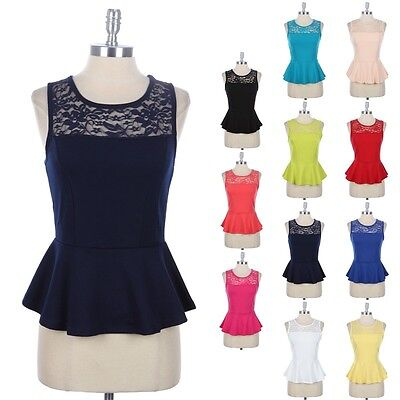 Keyhole Back Tank - Peplum Tank Top with Partial Lace and Keyhole Back Sleeveless Cute Stylish S M L
