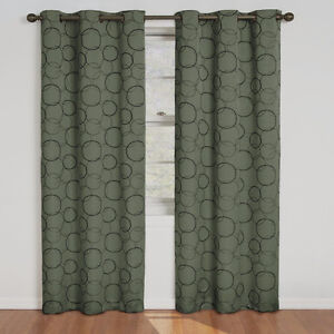 New- Sage Patterned Thermal Lined Room Darkening Grommet Panels Sarnia Sarnia Area image 1