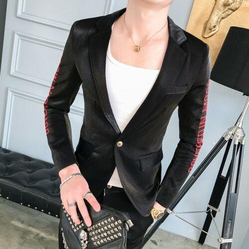 Men/'s Lapel Jacket Shiny Two Button Slim Fit Bar Nightclub Dress Formal Coat New
