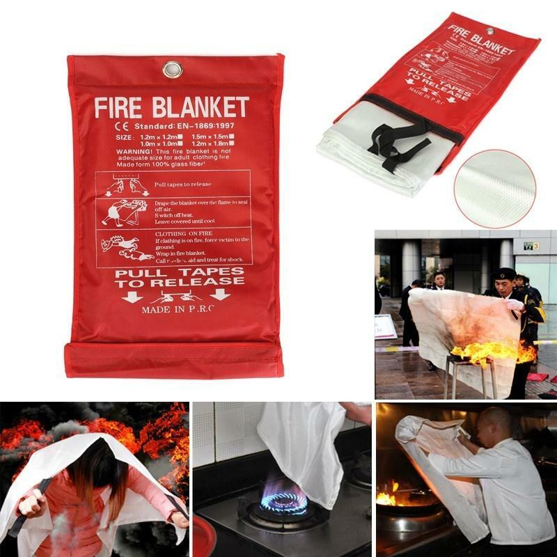 1mx1m Emergency Fire Blanket Quick Release In Case For Home Office Car