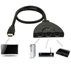NEW 3 Port HDMI 1.3 1080P Switcher Switch Splitter for HDTV DVD Xbox 360 USA