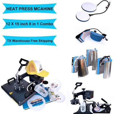 8 In1 Heat Press Machine Digital Transfer Swing Away For T-shirt Mug Hat 12x15