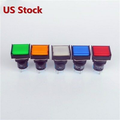 5x Rectangle Momentary Push Button Switch Self-lock Illuminated Led Light 5-pin
