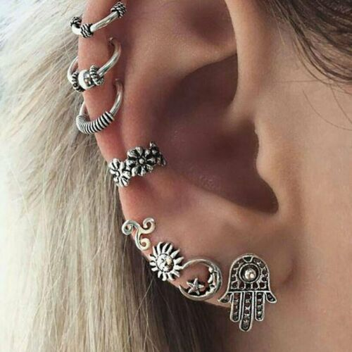 8Pcs Boho Silver Sun Moon Palm Cartilage Cuff Hoops Wrap Ear