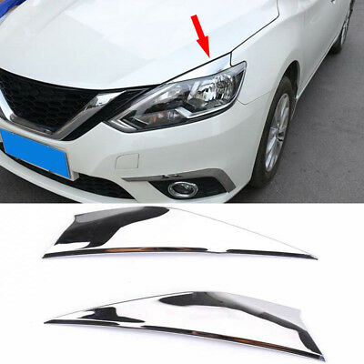 FOR NISSAN SENTRASylphy 2016 18 ABS Chrome Front Eyebrow headlight eyelid cover