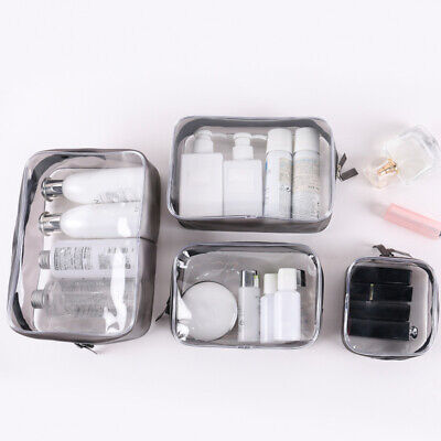 3/4PCS Set  Cosmetic Makeup Toiletry Clear PVC Travel Wash Bag Holder Pouch (Clear Pouch)