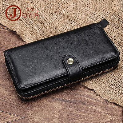 Men Genuine Leather Handmade Day Clutch Wallet Zipper Snapped Note (Snapped Billfold)