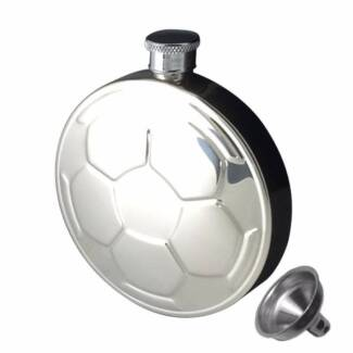 Soccer / Football 4.5 oz Stainless Steel Flask with Funnel