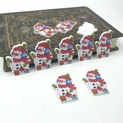 Christmas Cute snowman Wooden Buttons decoration Christmas crafts Sewing 34mm - Wooden Snowman Crafts