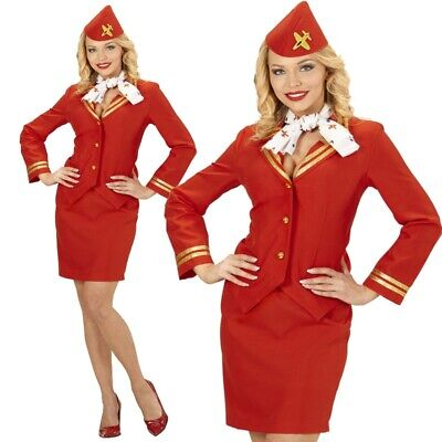 Deluxe STEWARDESS Red AIR Gr. M  (38/40) Damen Kostüm rot Flugbegleitung - Stewardess Kostüm Rot