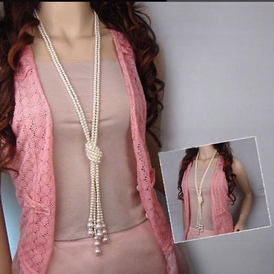 Bead White Pearl Necklace Drop Beaded Chain Long Rope Fashion Freshwater - White Bead Necklaces