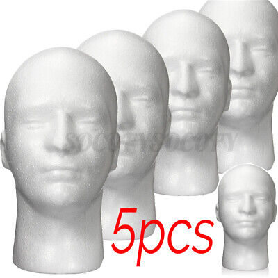 5 Pcs Dia 22 White Male Foam Mannequin Head Model Wig Glasses Hat Display Stand