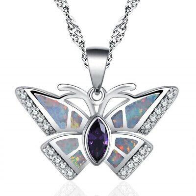 Fashion Silver purple Fire Opal Amethyst-Tone Crystal Butterfly Pendant Necklace