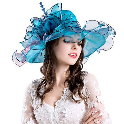 Blue Womens Organza Church Summer Wide Brim Kentucky Derby Hat Party Wedding Cap