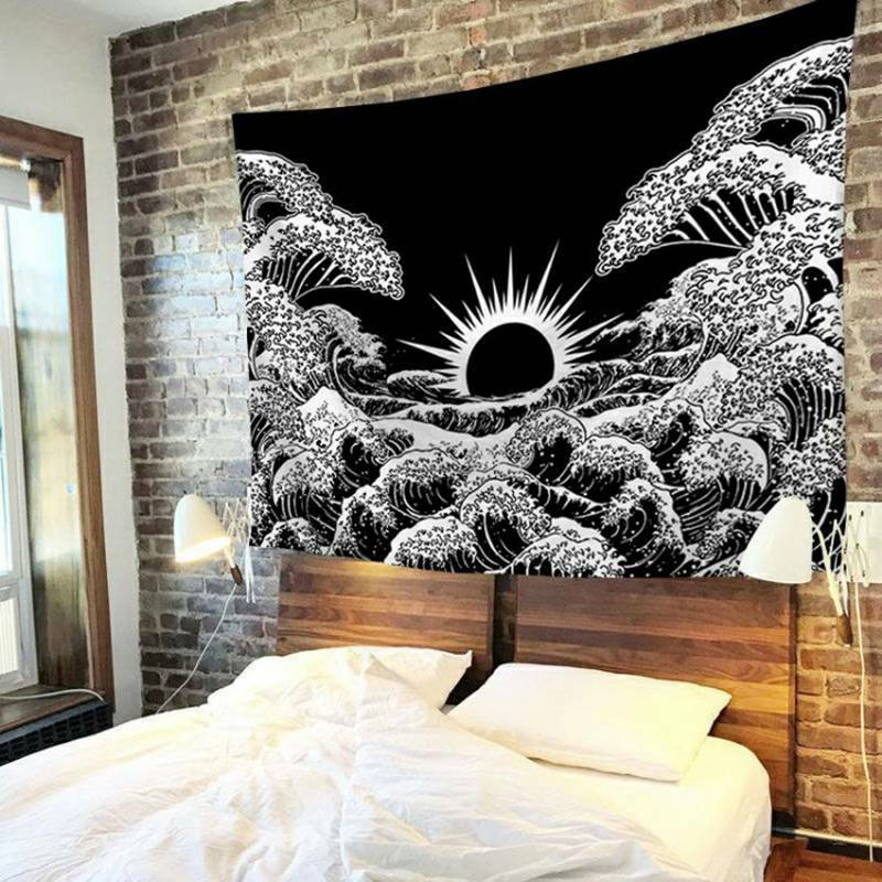 Hippie Trippy Psychedelic Tapestry Wall Hanging Blanket Living Room Art Decor Home & Garden