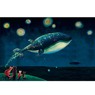 Wooden Jigsaw Puzzles 500 PCS Cat Whale Cartoon Animals Kids Toy Painting Decor