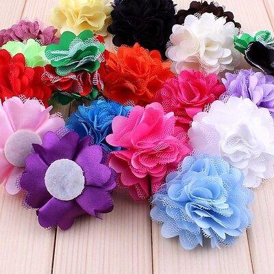 120PCS Mini Satin Mesh Hair Artificial Fabric Flower For Baby Hair Accessories