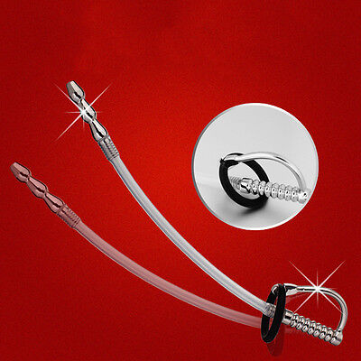 Stainless steel silicone urethral dilator sound stretching plug Catheter Gift ()