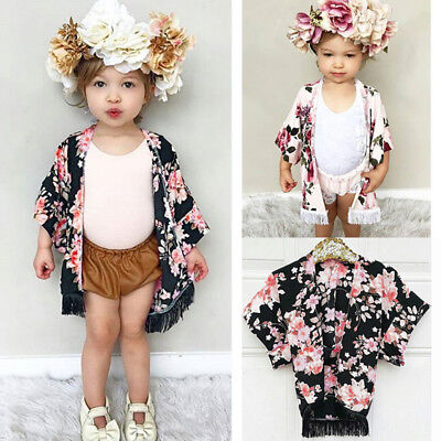 Kids Toddler Baby Girls Chiffon Tassel Kimono Outfit Open Cardigan Cover up Tops](Toddler Kimono)