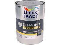 Dulux trade - Diamond eggshell paint. Pure brilliant white. 5L