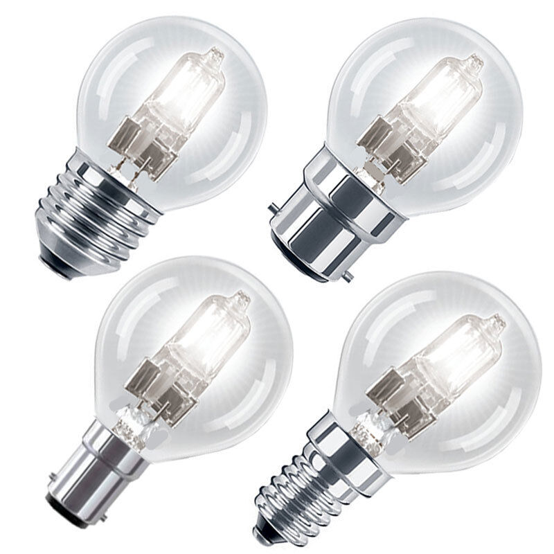 eco halogen energy saving golf ball light bulbs b22 e14. Black Bedroom Furniture Sets. Home Design Ideas
