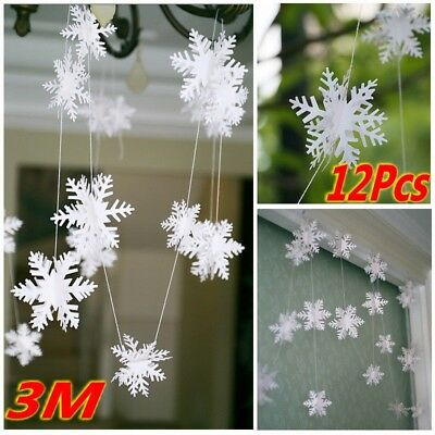 3M SNOWFLAKE GARLAND FROZEN WINTER WONDERLAND CHRISTMAS PARTY HOME DECOR ()