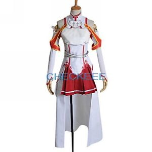 New Custom-made Sword Art Online Asuna Yuuki Cosplay Costume