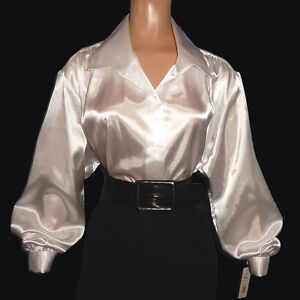SHINY New LIQUID SATIN Long Sleeve BLOUSE Button Front Top Vtg Style Charmeuse