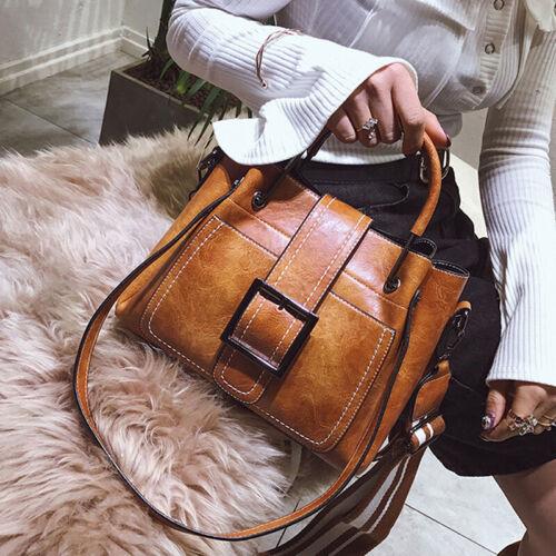 Frauen Vintage Handtasche Schultertasche Tote Leder Boho Crossbody Handtasch CL