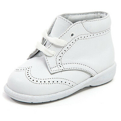 - Baby Boy White Leather High Top shoes with Laces & Stitch Design: Size 3 to 8