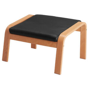 Used leather footstool for $60 – IKEA, POANG