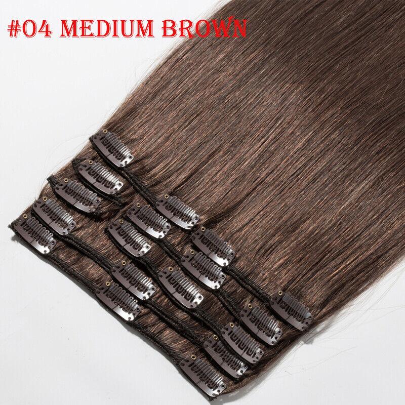 50CM 60CM Echthaar Clip In Extensions Remy Haar Haarverlängerung 8 teilig Set DE #04 Mittelbraun
