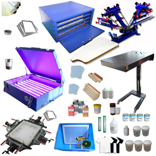 4 Color 1 Station Screen Printing Kit Full Set Press with Dryer& Drying Cabinet