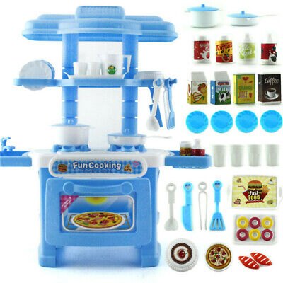 Kids Toddler Playset Toy Gift  Cooking Pretend Play Set Kitchen Toy Blue New US