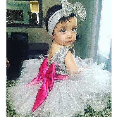 Children Kids Girl Sequined Big Bow Ball Gown Tulle Dress+Headband Party Dresses