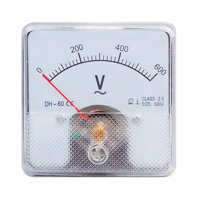 1pc Dh-60 Rectangle Plastic Analog Voltmeter Voltage Meter Ac 0-600v Class 2.5