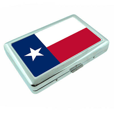 Texas State Flag D1 Silver Cigarette Case / Metal Wallet Card Money Holder](Flag Holder Case)