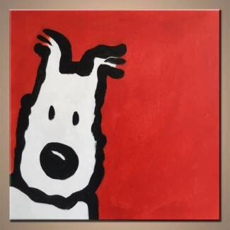 Cute and quirky, whimsical Wire Fox Terrier art - SNOWY!