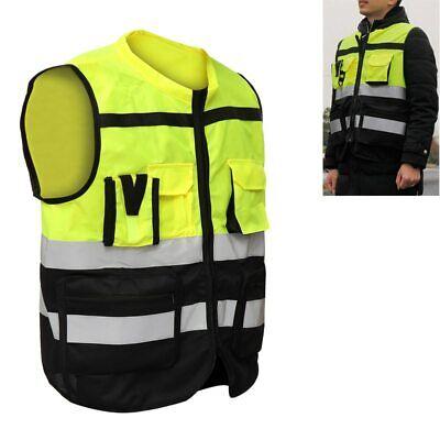 Lxlxxl Safety Vest Multiple Pockets High Visi Zipper Front Class 2 Reflective