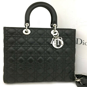 New Christian Dior Cannage Lady Lambskin Large Hand Bag