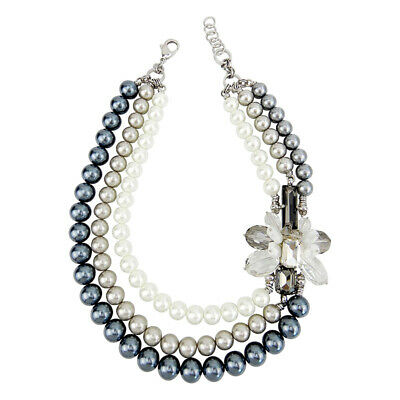 BEADS U WORKSHOP Three Strand Pearl Statement Necklace With Handcrafted -